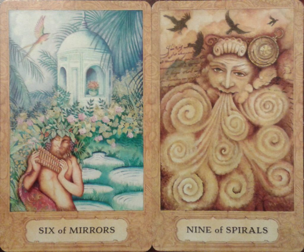 The Six of Mirrors and Nine of Spirals from the Chrysalis Tarot by Holly Sierra and Toney Brooks