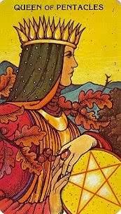 Queen of Pentacles from the Morgan Greer Tarot, by Bill Greer and Lloyd Morgan, published by U.S. Games Systems Inc.