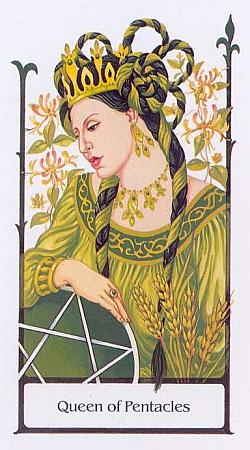 Queen of Pentacles from the Tarot of the Old Path, by Howard Rodway and Sylvia Gainsford, published by U.S. Games Systems Inc.