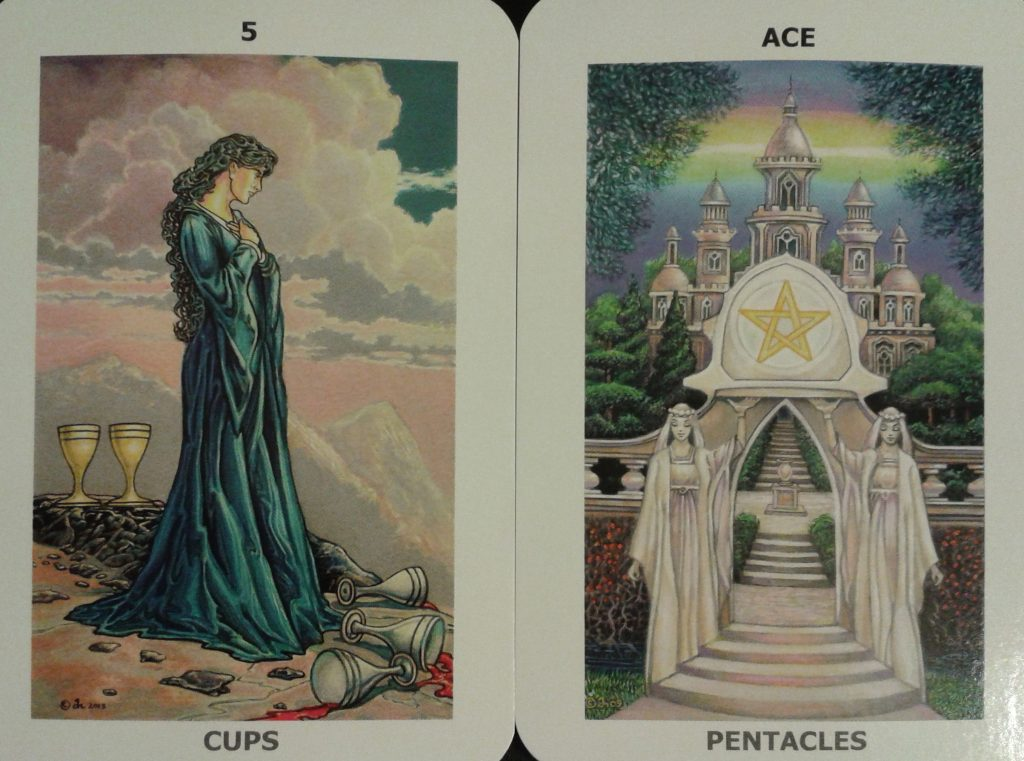 The 5 of Cups and Ace of Pentacles from the Sacred Isle Tarot, by David Higgins, self-published 2014.