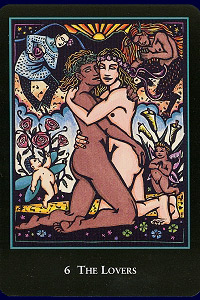 The Lovers from World Spirit Tarot by Lauren O'Leary, self-published, 2016.