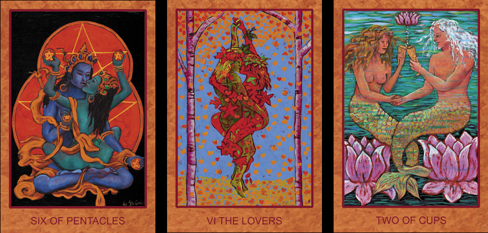 Six of Pentacles, Lovers, and Two of Cups from Tarot de St. Croix, by Lisa de St. Croix, Devera Publishing, 2014