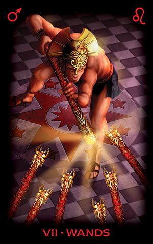 Seven of Wands from the Tarot of Dreams by Ciro Marchetti, U.S. Games Systems, Inc., 2015.