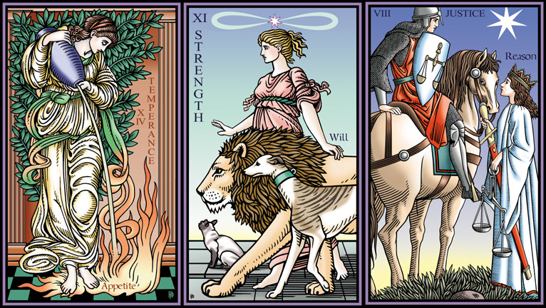 Temperance, Strength and Justice from the Tarot of the Sevenfold Mystery by Robert M. Place, Hermes Publications, 2013