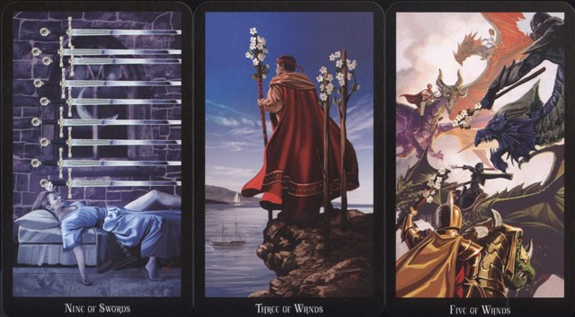 Nine of Swords, Three of Wands, Five of Wands, The Witches Tarot by Ellen Dugan, Llewellyn Publications, 2012.