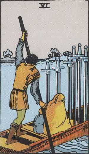 The RWS Six of Swords shows a ferryman poling two passengers across water.