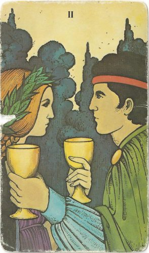"""II of Cups"" from the Morgan-Greer Tarot by Bill Greer, Lloyd Morgan, published by U.S. Games."