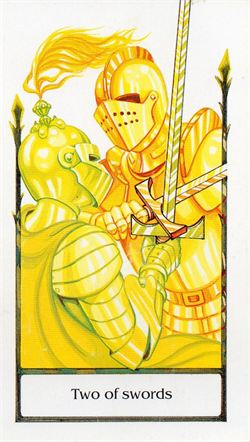 The Two of swords from the Tarot of the Old Path, by Howard Rodway, Sylvia Gainsford, published by U.S. Games Systems, Inc.