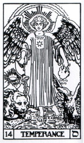 14 Temperance from Builders of the Adytum (B.O.T.A.) Tarot by Paul Foster Case and Jessie Burns Parke, published by US Games Systems, Inc..