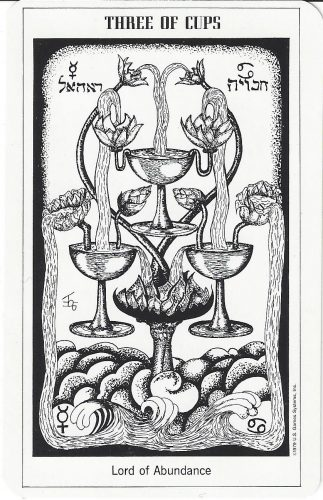 Three of Cups from the Hermetic Tarot by Godfrey Dowson, published by U.S. Games Systems, Inc. 1990