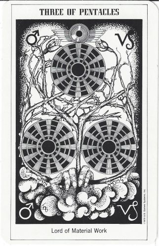 Three of Pentacles from the Hermetic Tarot by Godfrey Dowson, published by U.S. Games Systems, Inc. 1990
