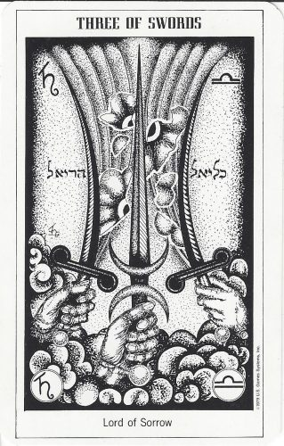 Three of Swords from the Hermetic Tarot by Godfrey Dowson, published by U.S. Games Systems, Inc. 1990
