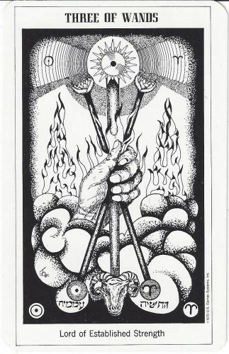 Three of Wands from the Hermetic Tarot by Godfrey Dowson, published by U.S. Games Systems, Inc. 1990