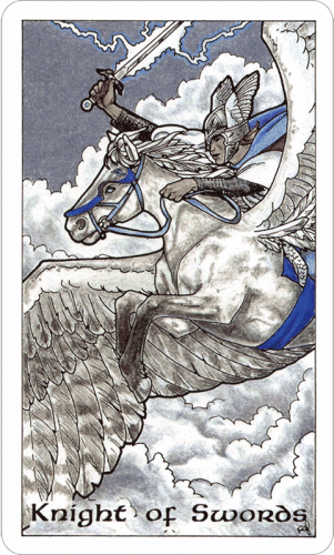 Knight of Swords from the Robin Wood Tarot by Robin Wood, published by Llewellyn Publications.