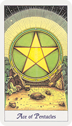 """Ace of Pentacles"" from Cosmic Tarot by Norbert Losche, published by U.S. Games Systems, Inc. 1986."
