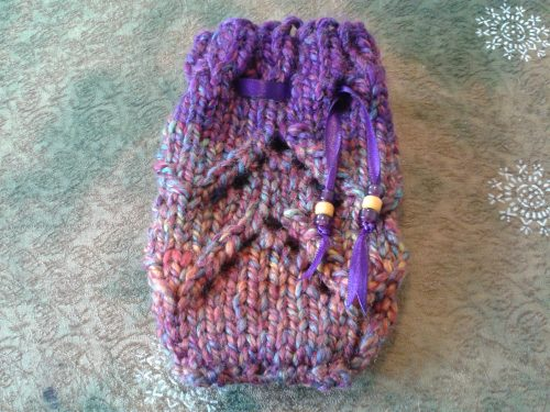 "2-Hour Tarot Bag by Joy Vernon. Hand knit in Yarn Bee ""Dream Spun"", 80% acrylic/20% Superwash Wool, color Wonderwild, with glass crow beads."