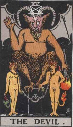 """The Devil"" from the Rider Waite Smith Tarot by A. E. Waite and Pamela Colman Smith, Pamela-A edition."