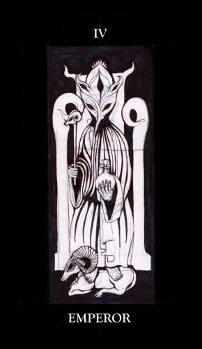 """Tarot card """"IV Emperor"""" by Jesse Peper includes the Aries ram for this month's astrology."""