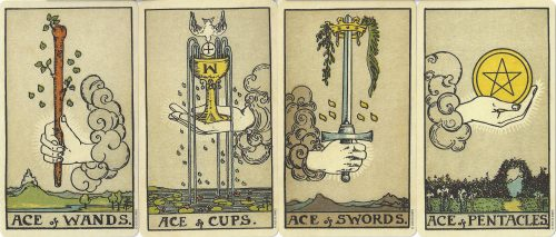 The Four Aces from the Smith-Waite Tarot Centennial Edition Deck by Pamela Colman-Smith and Arthur Edward Waite, published by U.S. Games, Inc. 2009