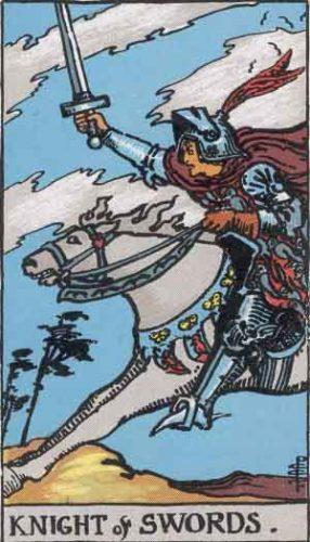 """Knight of Swords"" from the Rider Waite Smith Tarot by A. E. Waite and Pamela Colman Smith, Pamela-A edition."