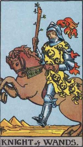 """""""Knight of Wands"""" from the Rider Waite Smith Tarot by A. E. Waite and Pamela Colman Smith, Pamela-A edition."""