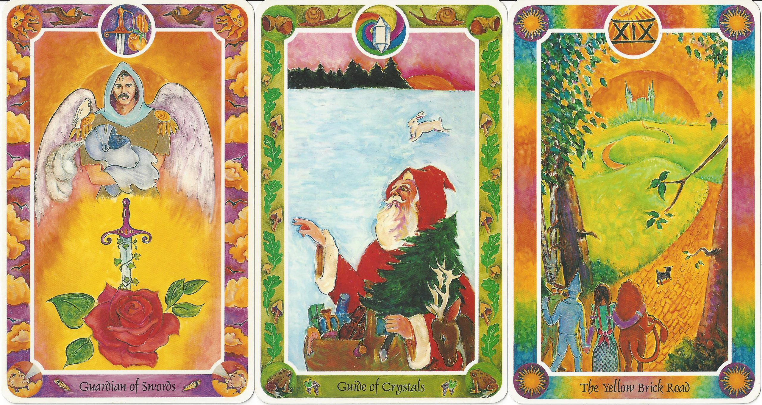 """""""Guardian of Swords,"""" """"Guide of Crystals,"""" and """"XIX The Yellow Brick Road"""" (The Sun) from Inner Child Cards by Isha Lerner, Mark Lerner, Christopher Guilfoil, Bear & Company, 1992."""