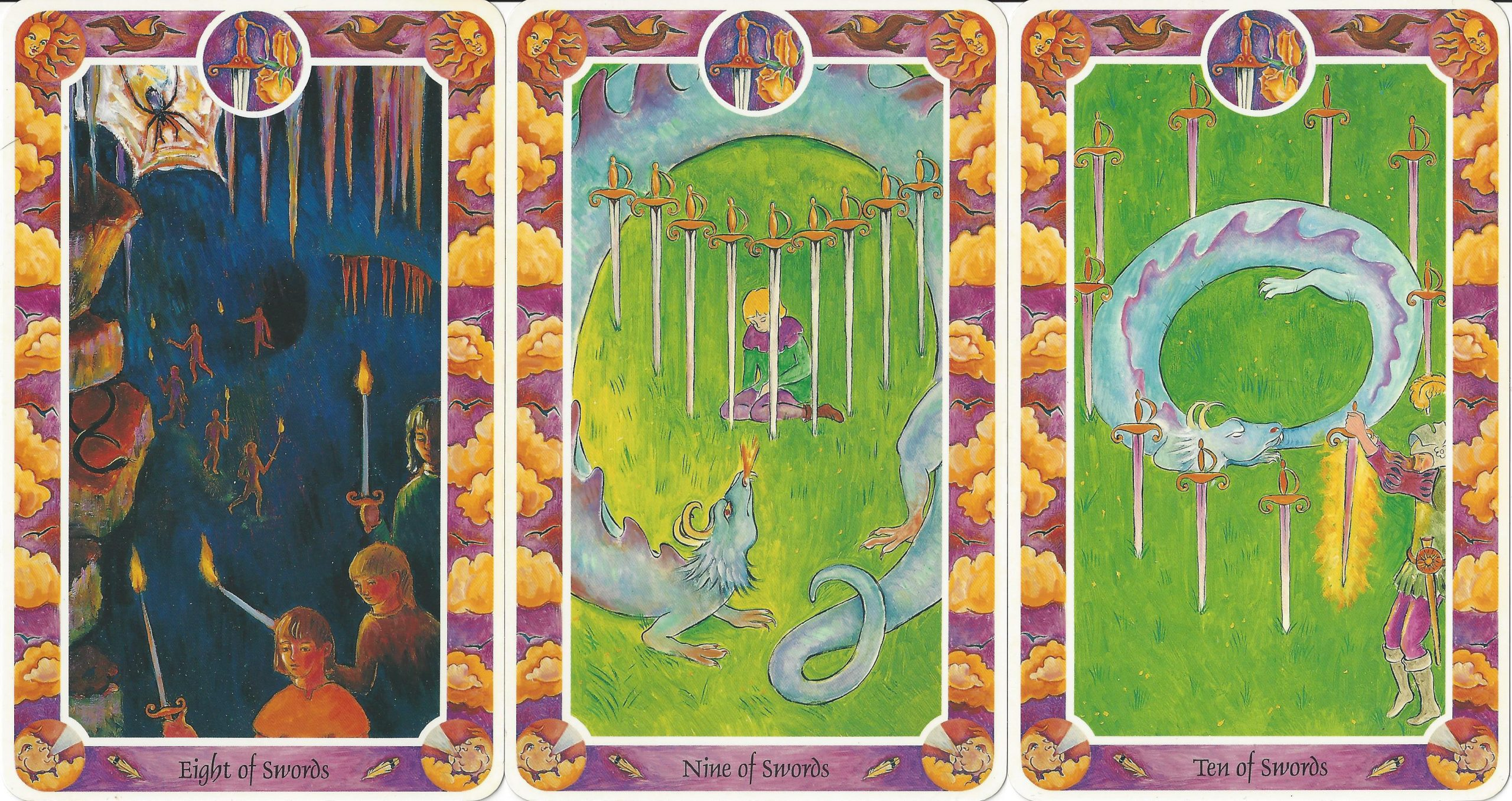 """""""Eight of Swords,"""" """"Nine of Swords,"""" and """"Ten of Swords"""" from Inner Child Cards by Isha Lerner, Mark Lerner, Christopher Guilfoil, Bear & Company, 1992."""