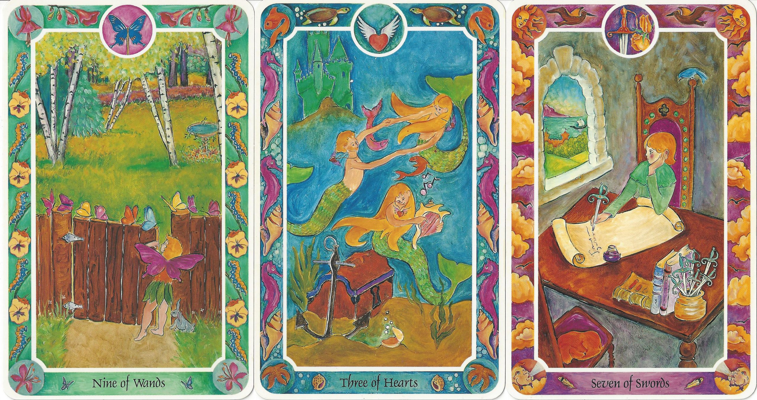 """""""Nine of Wands,"""" Three of Hearts,"""" and """"Seven of Swords"""" from Inner Child Cards by Isha Lerner, Mark Lerner, Christopher Guilfoil, Bear & Company, 1992."""