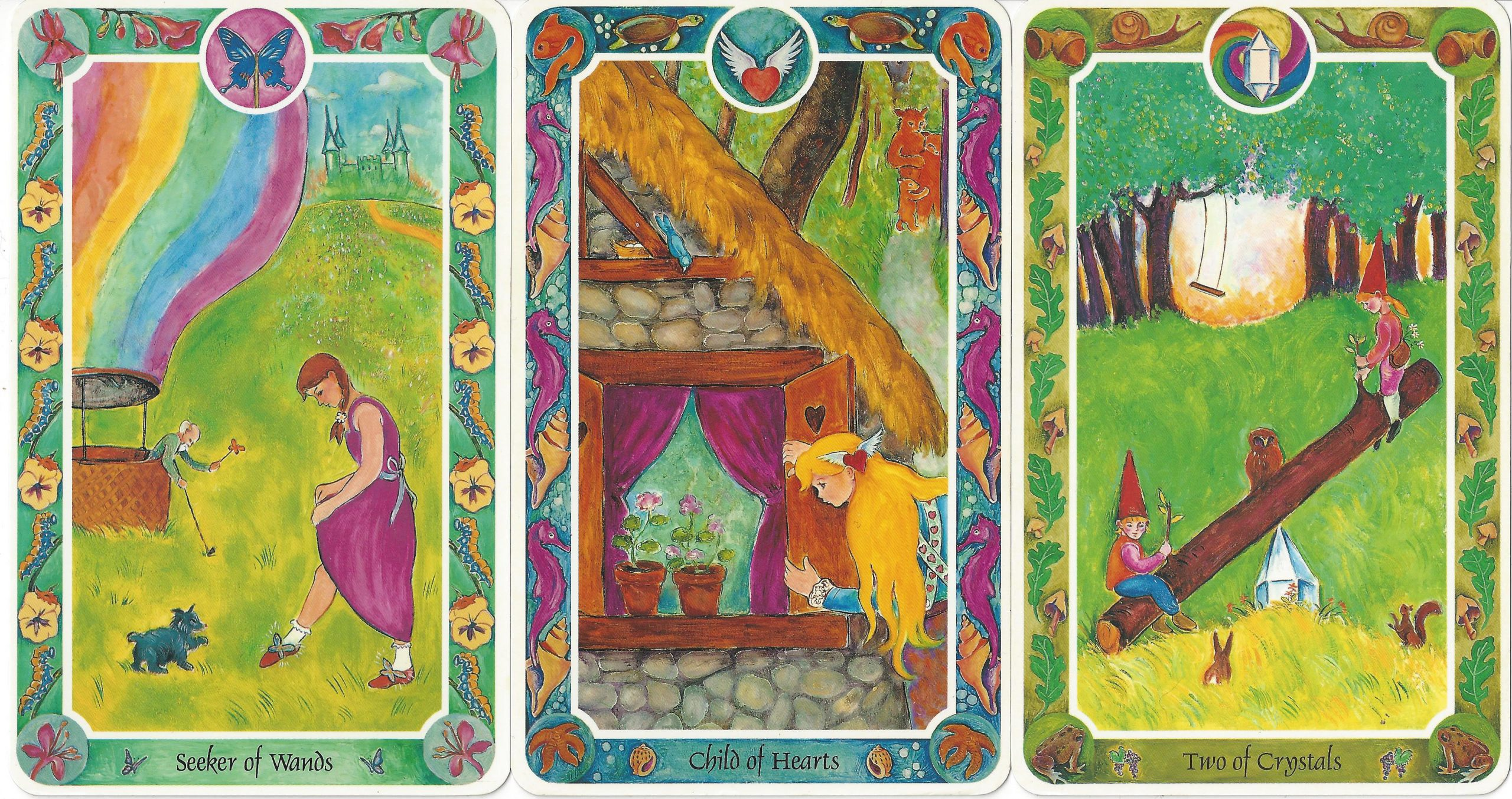 """""""Seeker of Wands,"""" """"Child of Hearts,"""" and """"Two of Crystals"""" from Inner Child Cards by Isha Lerner, Mark Lerner, Christopher Guilfoil, Bear & Company, 1992."""