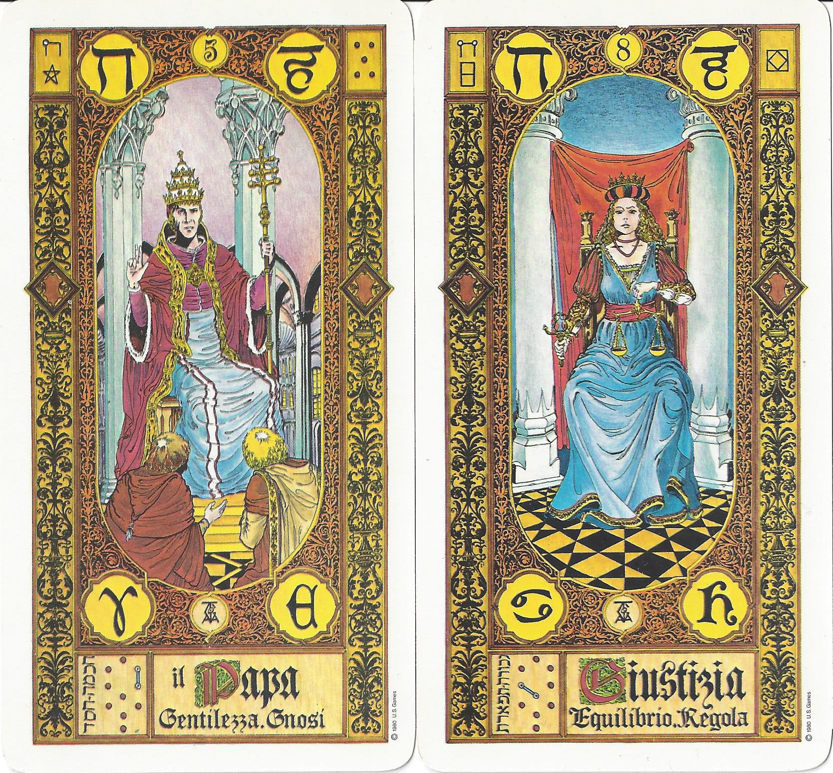 """Il Papa"" and ""Giustizia"" from The Stairs of Gold Tarot by Georgio Tavaglione, published by U.S. Games Systems, Inc., 1979. This deck features the astrological and qabalistic correspondences in the French system. Both cards show the Hebrew letter cheth, but Il Papa, using this system of correspondences, should show heh."