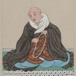 Religious figure, probably a monk, seated, facing slightly left, holding a loop of prayer beads.