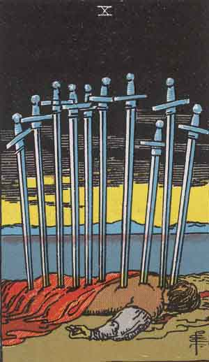 The character in the Ten of Swords: Sun in Gemini is holding one hand in the Surya Mudra, or Sun Mudra, which balances warmth in the body.