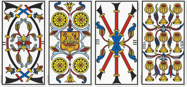 Tarot lineages start with the historic or Tarot de Marseille lineage, also called pip decks. Pip decks, with the least amount of symbolic or illustrative information in the image, derive meaning from the poetic patterns found in the small details of the card.