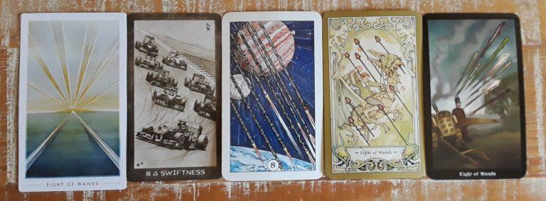 Five depictions of the tarot Eight of Wands: Mercury in Sagittarius