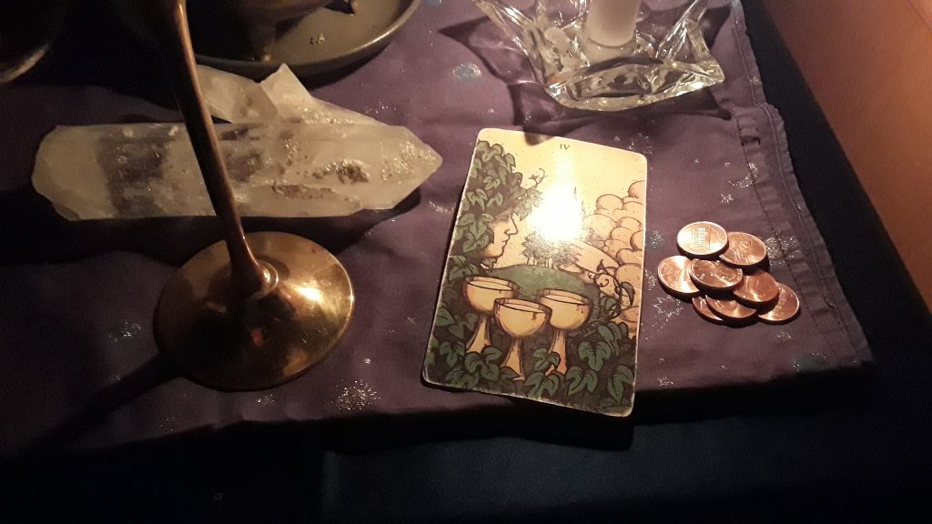 Four of Cups card from my Four of Cups: Moon in Cancer ritual