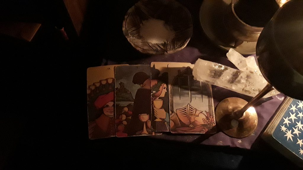 The four cards from my Agrippa Tarot Spread that I performed during my Four of Cups: Moon in Cancer ritual.