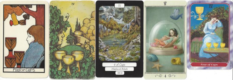 The Four of Cups from, left to right, Aquarian Tarot, Morgan Greer Tarot, MerryDay Tarot, Nicoletta Ceccoli Tarot, Spiral Tarot. The Four of Cups: Moon in Cancer astrological symbolism might illustrate the changeability represented by the four phases of the moon. The cup handed down from above could represent the current lunar phase, while the three cups on the ground could indicate the cycle that the proffered energy must subsequently undergo.
