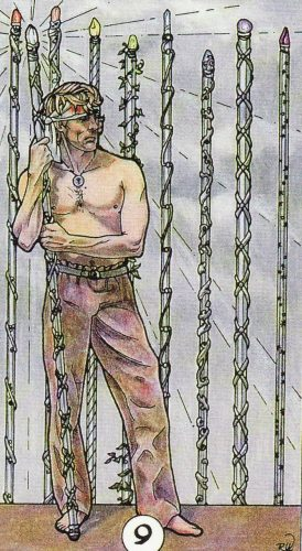 Robin Wood Nine of Wands: Moon in Sagittarius shows a man with his head bandaged holding a crystal tipped staff and standing in front of a fence-like row of similar wands. The effect is a border of tall, radiant flowers.