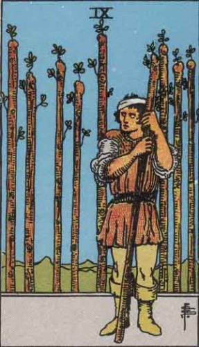 Nine of Wands from the Rider Waite Smith Tarot