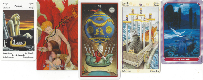 Five different Six of Swords cards illustrating a variety of Mercury in Aquarius symbolism.