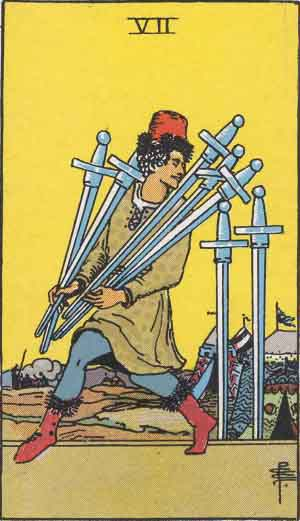 An apparent thief tiptoes away from a camp holding swords in this tarot card, the Seven of Swords - Moon in Aquarius.