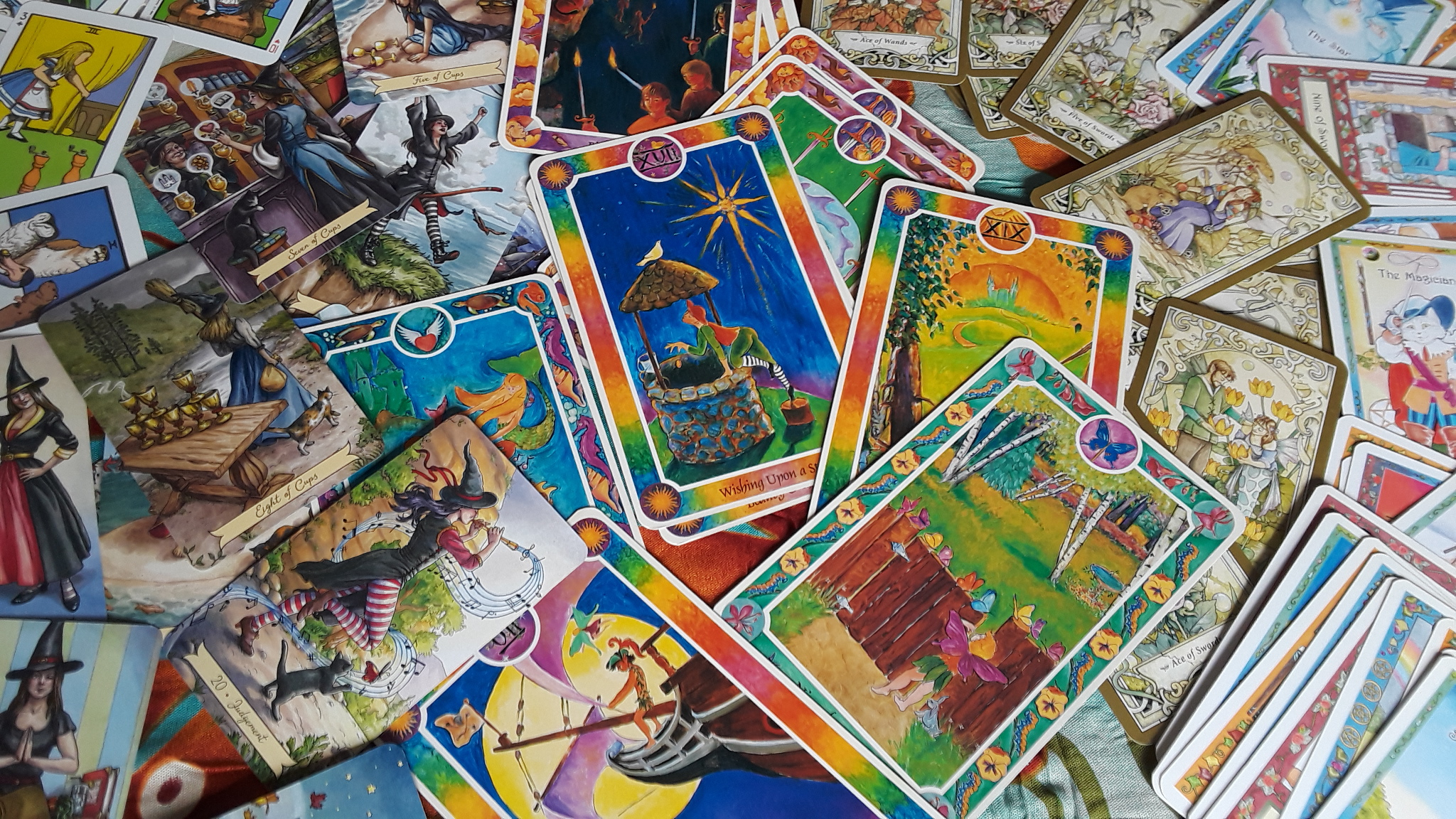 Five colorful kids decks perfect for reading tarot for kids.