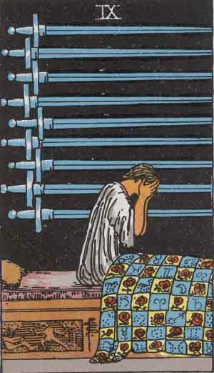 The Nine of Swords: Mars in Gemini character with head in hands: grieving or plotting?