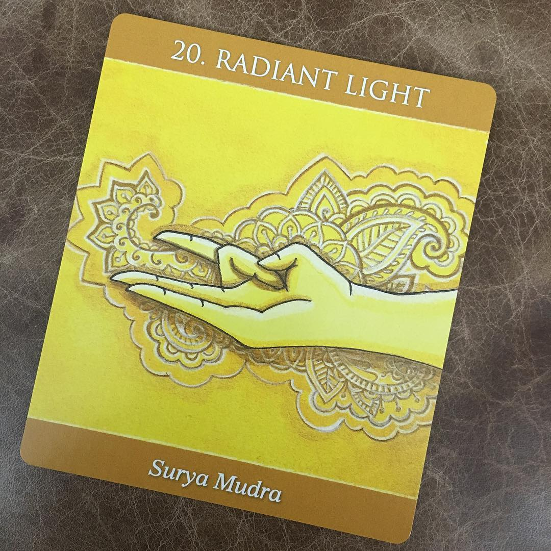 The Surya or Sun mudra, for balancing warmth in the body. The character in the Ten of Swords: Sun in Gemini is holding one hand in this position.