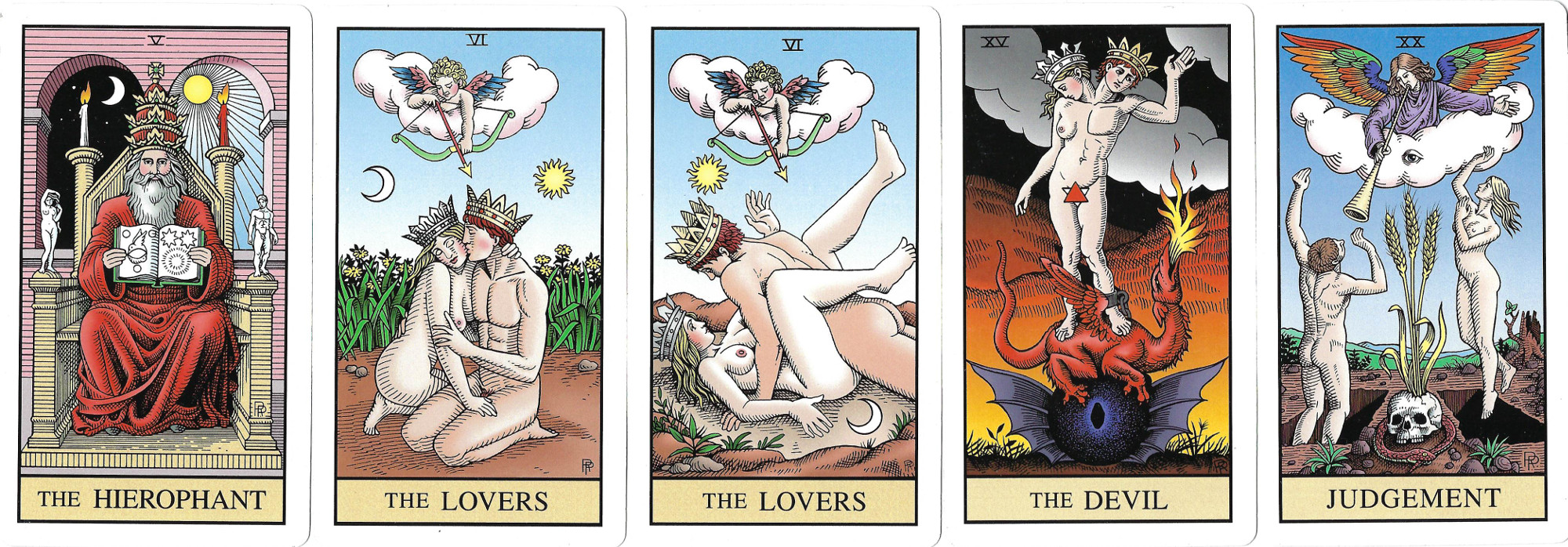 A deck which replaces religious symbolism in tarot with classical and alchemical symbolism.