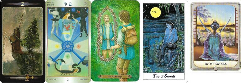Reflection, balance, and emotional equilibrium are indicated by the Two of Swords: Moon in Libra.