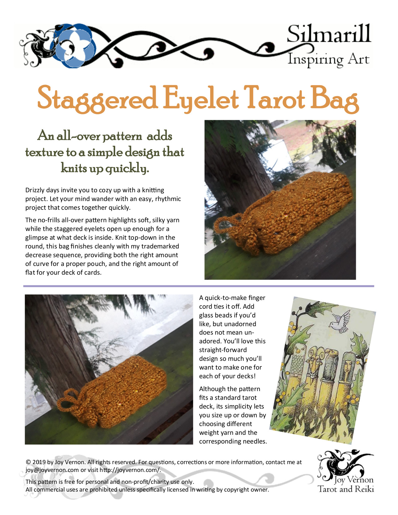 Staggered Eyelet Tarot Bag Knitting Pattern pdf
