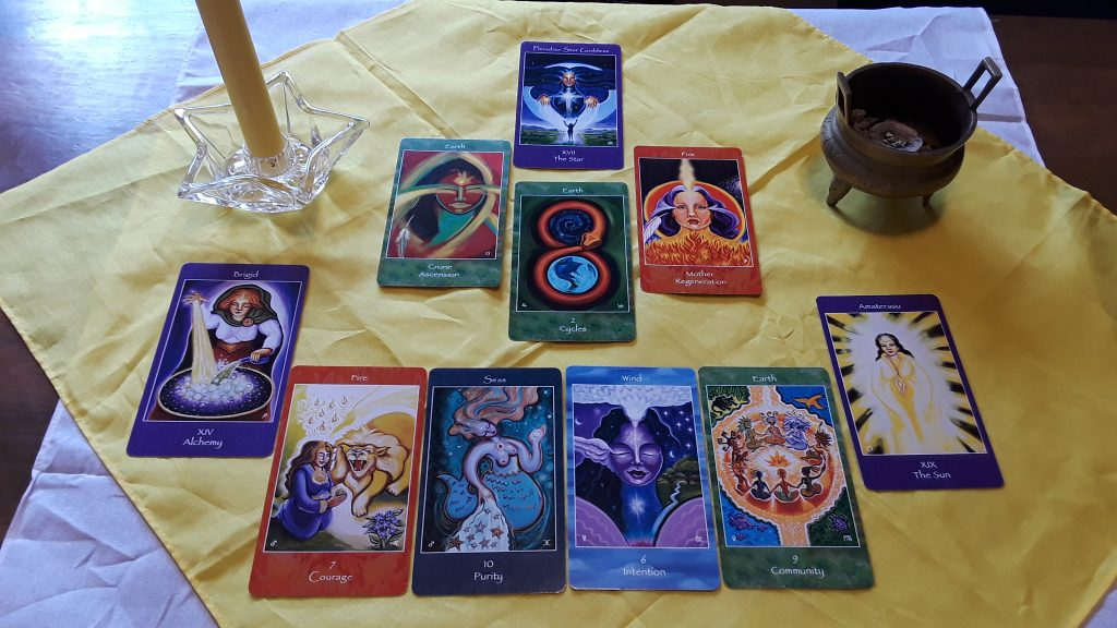 The cards for our tarot spell. I provide written instructions for How to Do a Tarot Spell for Health. This simple spell is easily accessible to all. Cards from The Mythical Goddess Tarot by Katherine Skaggs.
