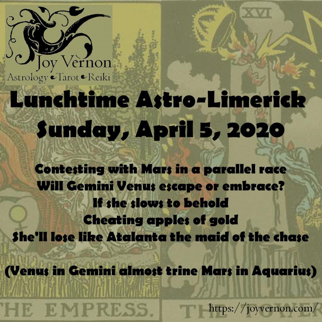 April 5, 2020 Lunchtime Astro-Limerick for Venus in Gemini