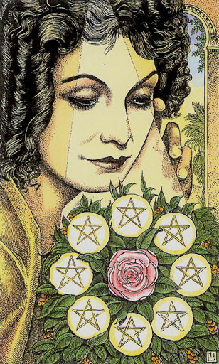 The Eight of Pentacles often shows someone engaged in practical work.